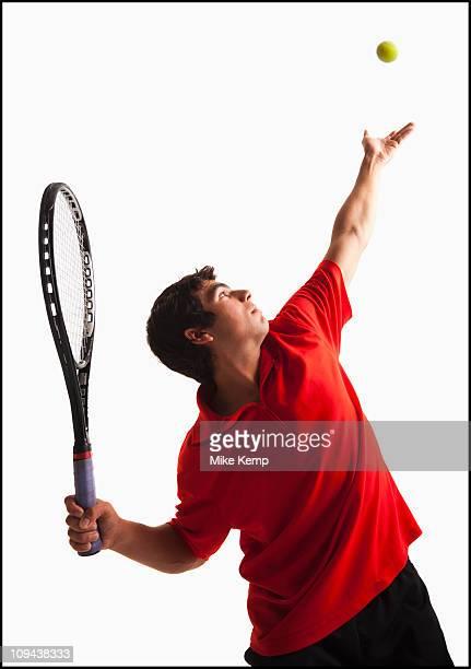 Young man playing tennis