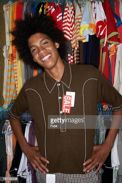 Young Man Posing in New Clothes