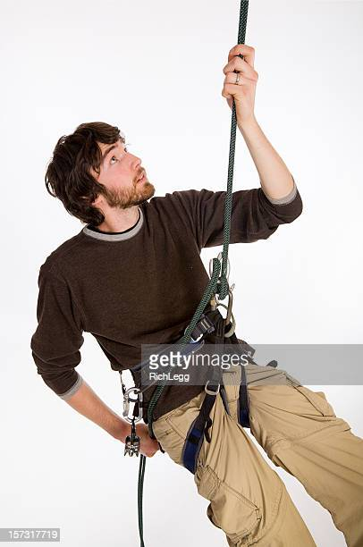 Young Man Rappelling