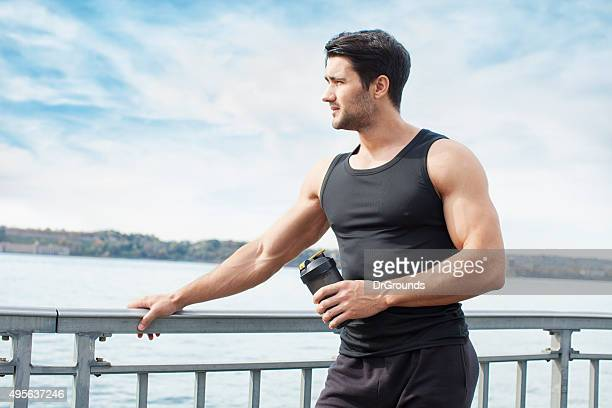 Young man resting after outdoor exercise