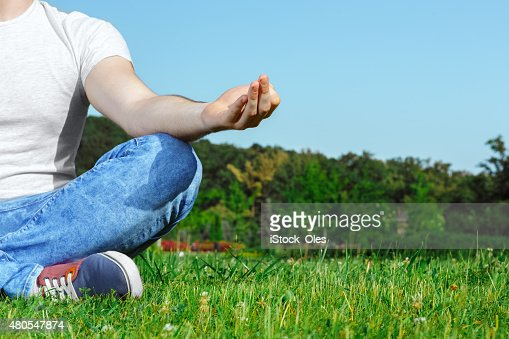 Young man resting in the park : Stock Photo