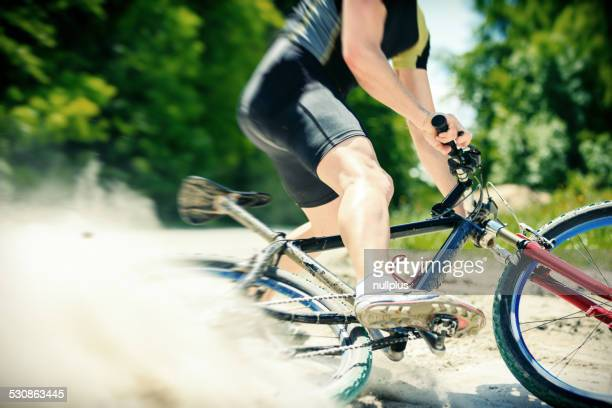 young man riding his mountain bike