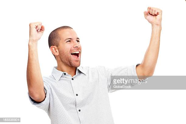 Young man screaming in excitement over white background