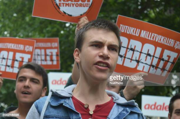 A young man shouts slogans during the 'Justice March' to protest against the Turkish government held by the main opposition Republican People's Party...