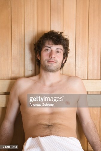 Sauna Details In 2019: Young Man Sitting In A Sauna Stock Photo