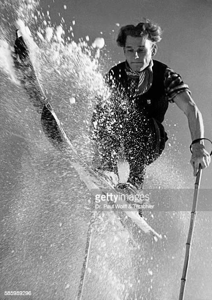 Young man skiing nostalgia