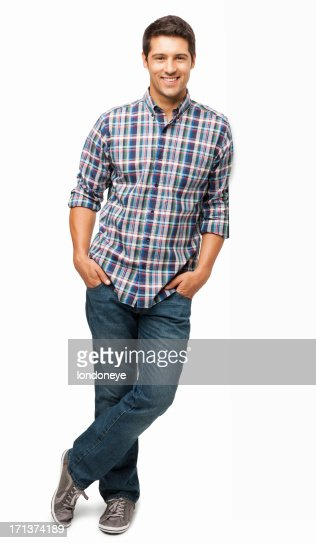 Young Man Standing With Hands In Pockets - Isolated : Stock Photo
