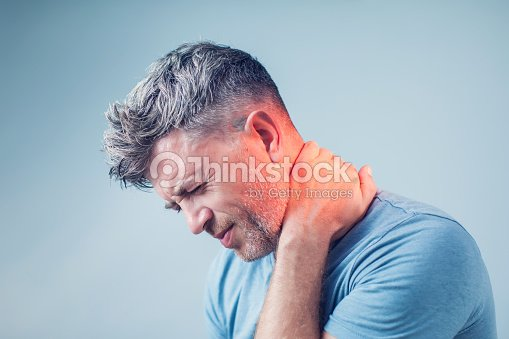 Young man suffering from neck pain. Headache pain. : Stock Photo