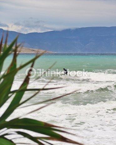 Young Man Surfing Adriatic Sea Mediterranean Sea Waves Cold