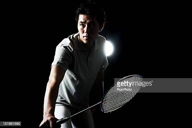 young man training,badminton