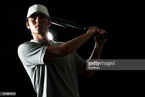 young man training,baseball