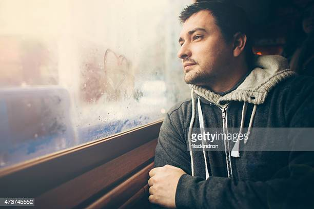 Young man  traveling in the train