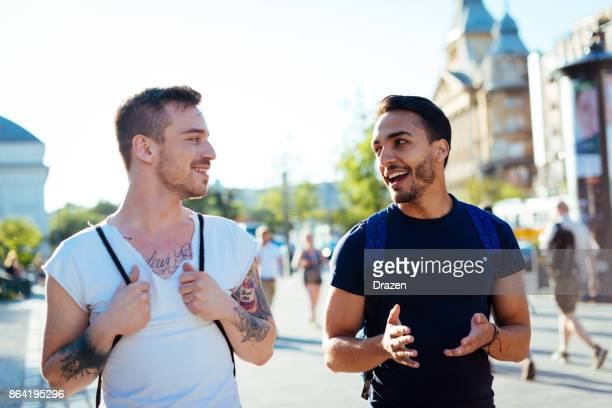 Young man traveling with his boyfriend