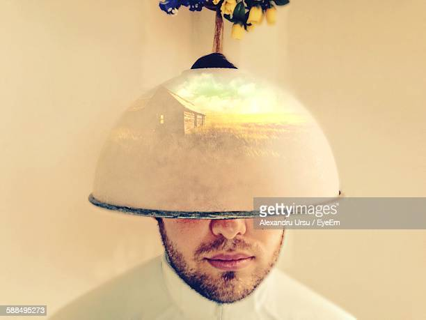 Young Man Under Hair Dryer