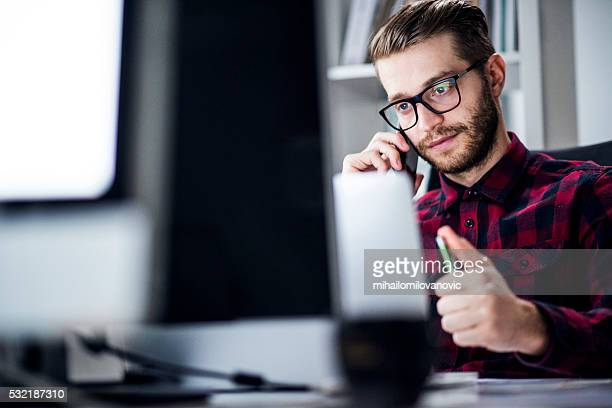 Young man using phone