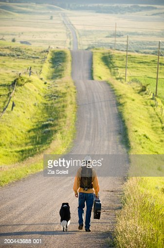 Young man walking with dog down rural road, rear view : Foto de stock