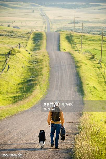 Young man walking with dog down rural road, rear view