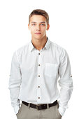Portrait of young man wearing a white shirt against isolated on white background