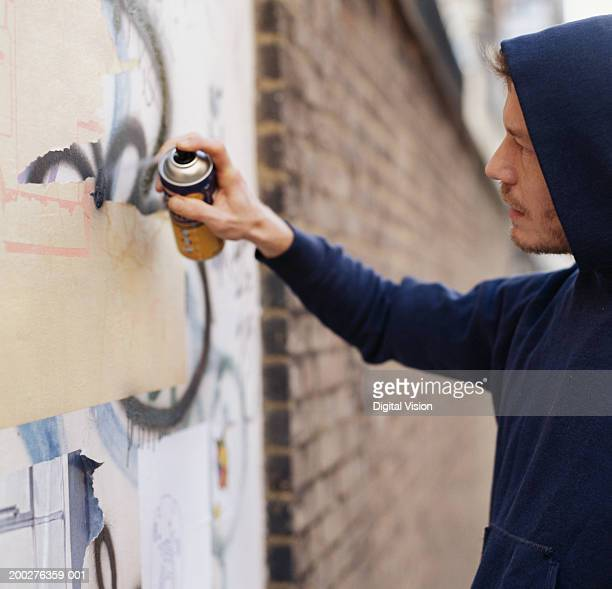 Young man wearing hooded top, spraying graffiti on wall, side view