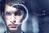 young man wearing smart glasses, heads up display, wearable computing, wearable device, internet of things, abstract image visual
