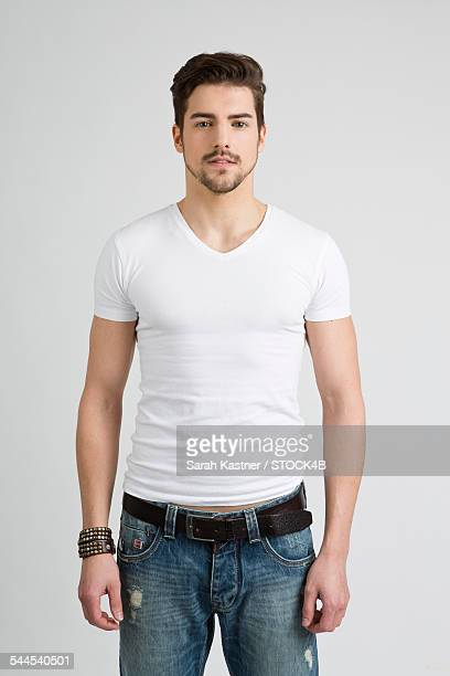 Young man wearing T-shirt and jeans