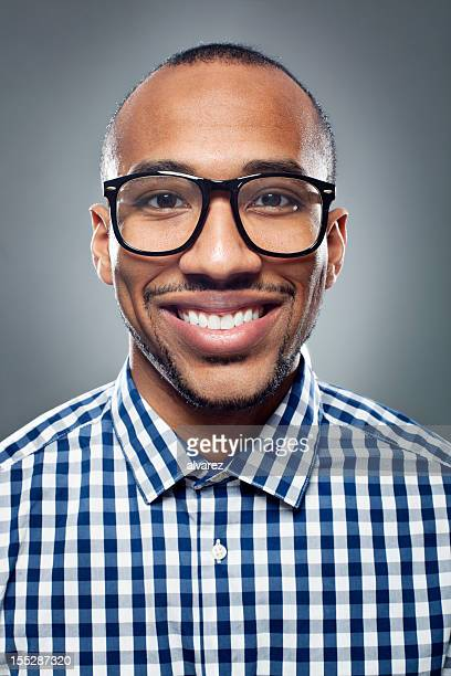 Young man with a nerd style