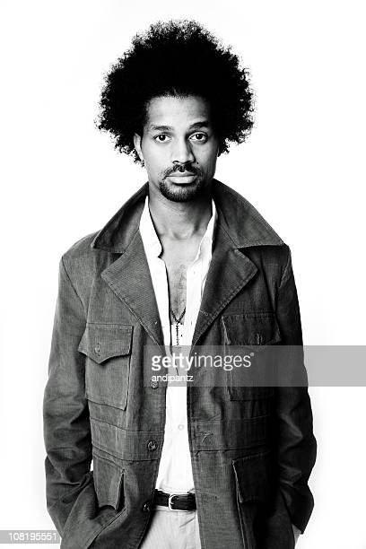 Young Man with Afro Hairstyle, Isolated on White