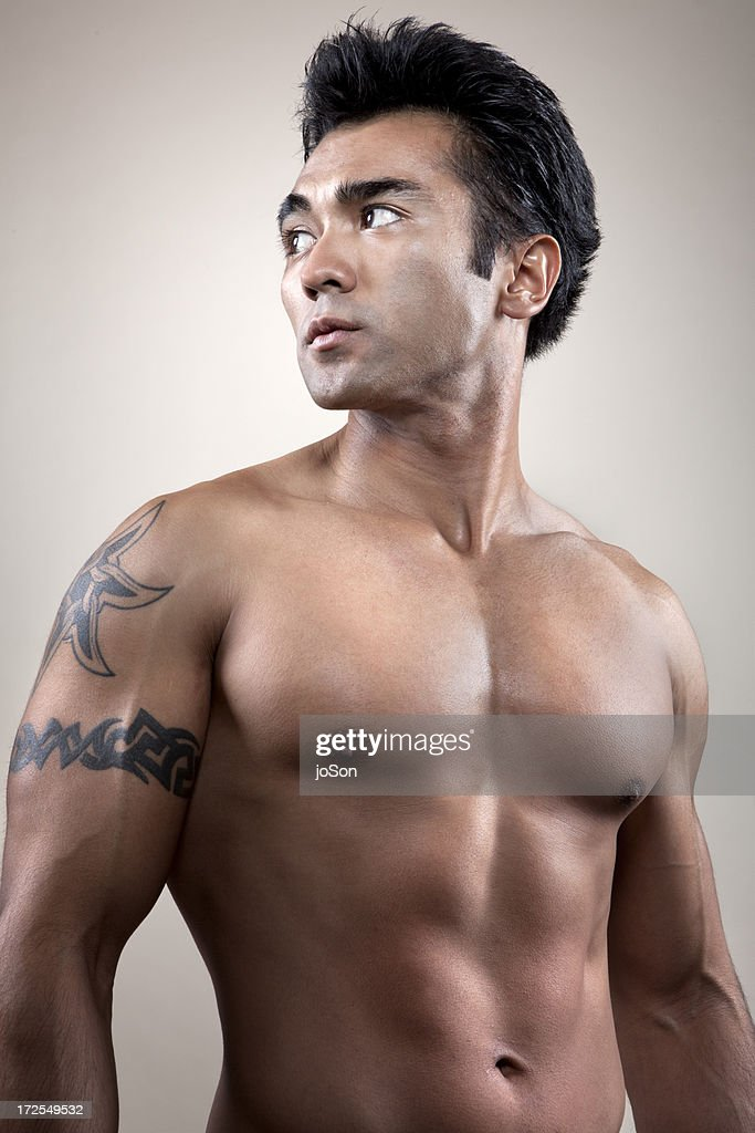 Young man with Barechested, portrait : Stock Photo