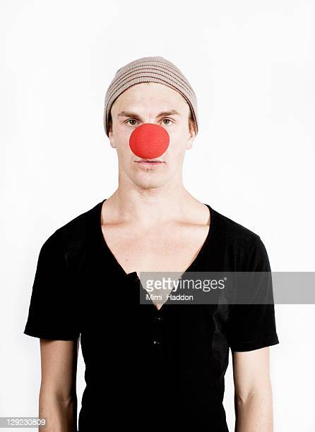 Young Man with Big Red Clown Nose