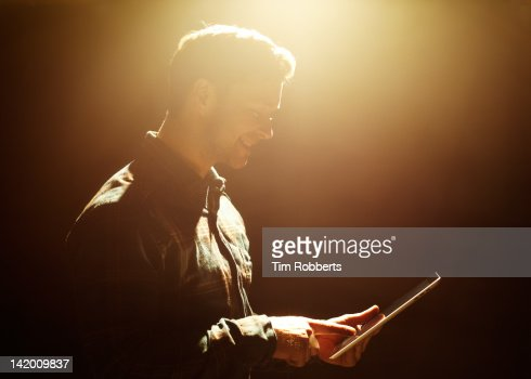 Young man with digital tablet. : Stock Photo