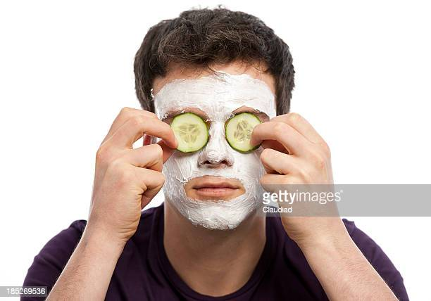 Young man with facial mask