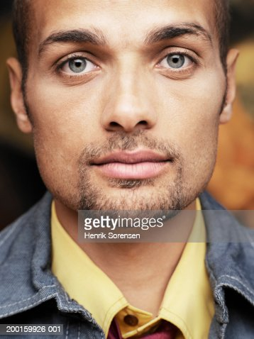 Young man with goatee beard, portrait, close-up