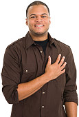 Young Man With Hand Over Heart