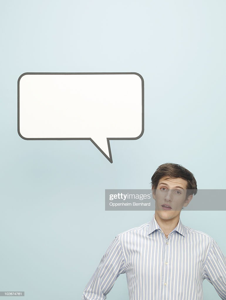 young man with speech bubble  : Stock Photo