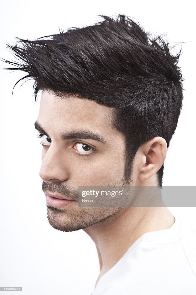 Young man with styled hair portrait : Stock Photo