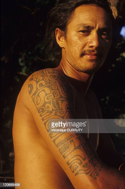 Young man with tattoo in Nuku Hiva island Marquesas archipelago French Polynesia