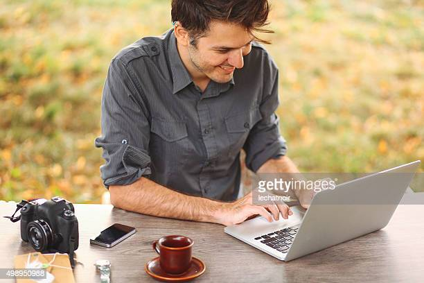 Young man working outdoors