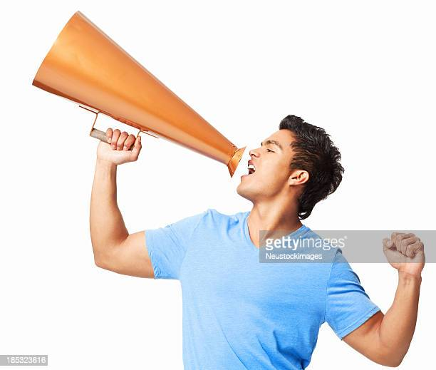 Young Man Yelling Through a Megaphone - Isolated