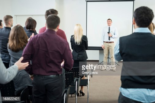Young Manager at the business seminar