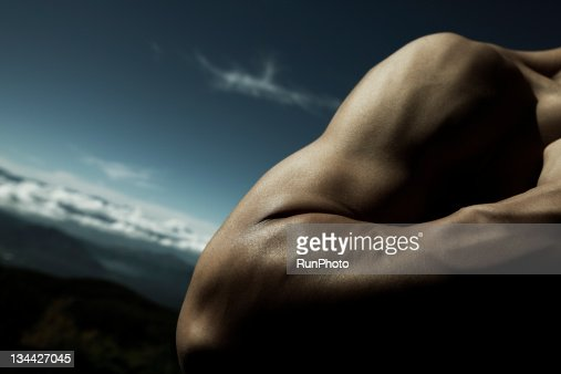 young man's arm close-up in nature : Stock Photo