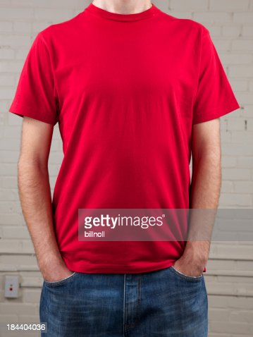 Young man's chest with blank red shirt