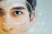 young man's eye and technology concept, smart contact lens display, Iris verification, wearable computing, abstract image visual