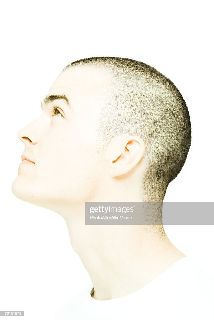 'Young man's head, looking up, profile'