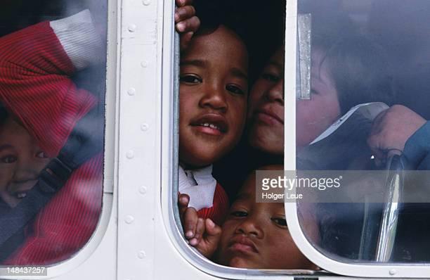 Young Maori boys in school bus, Ruatoki.
