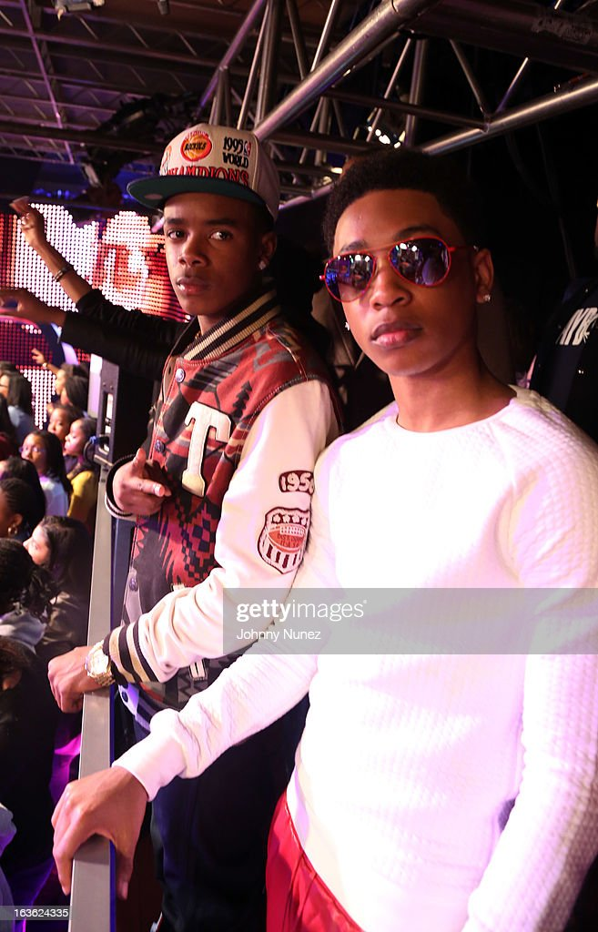 Young Marquis and <a gi-track='captionPersonalityLinkClicked' href=/galleries/search?phrase=Jacob+Latimore&family=editorial&specificpeople=5410256 ng-click='$event.stopPropagation()'>Jacob Latimore</a> visit BET's '106 & Park' at BET Studios on March 11, 2013 in New York City.