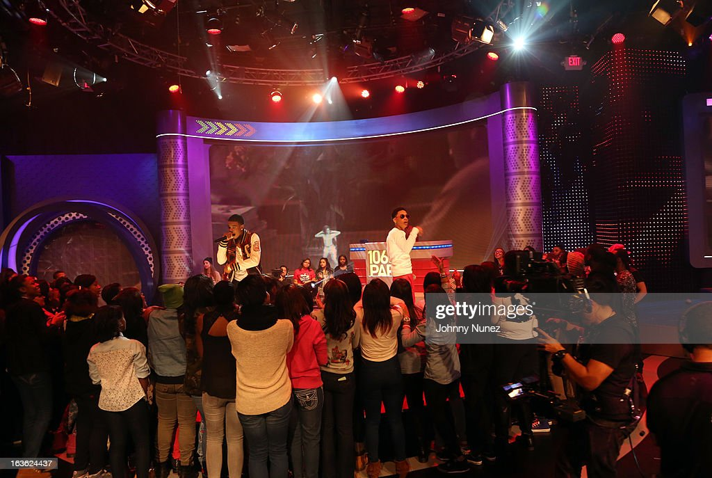 Young Marqus and <a gi-track='captionPersonalityLinkClicked' href=/galleries/search?phrase=Jacob+Latimore&family=editorial&specificpeople=5410256 ng-click='$event.stopPropagation()'>Jacob Latimore</a> perform on BET's '106 & Park' at BET Studios on March 11, 2013 in New York City.
