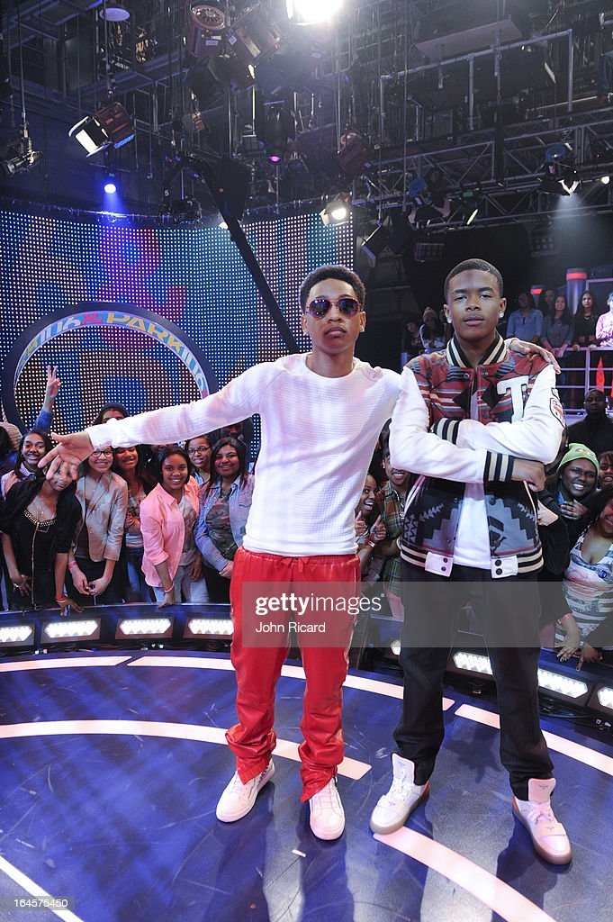 Young Marqus and <a gi-track='captionPersonalityLinkClicked' href=/galleries/search?phrase=Jacob+Latimore&family=editorial&specificpeople=5410256 ng-click='$event.stopPropagation()'>Jacob Latimore</a> visit BET's '106 & Park' at BET Studios on March 11, 2013 in New York City.