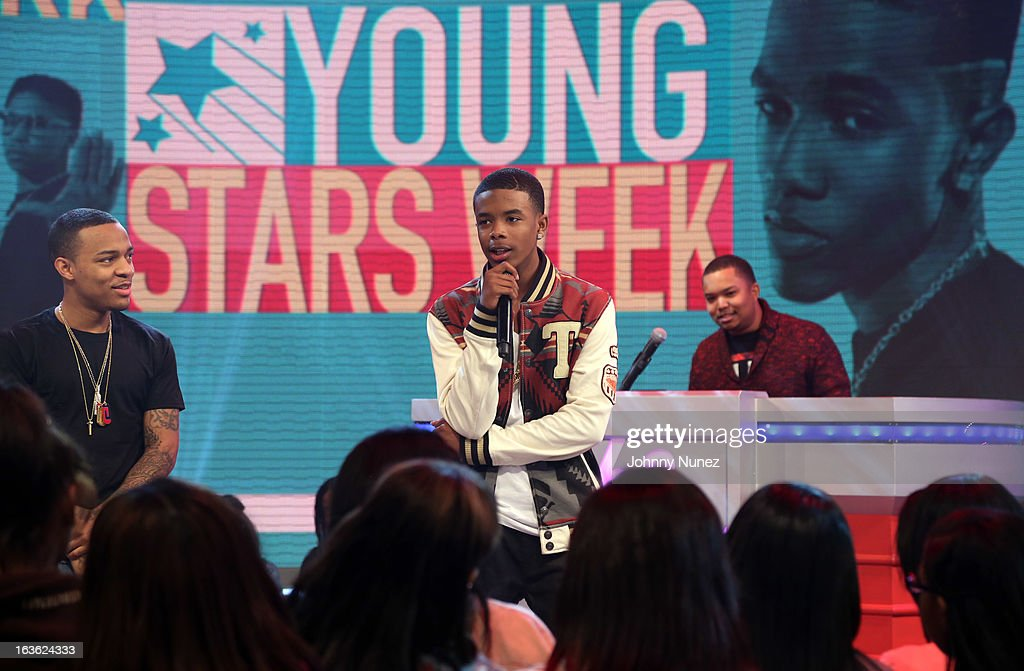 Young Marqus (c) visits BET's '106 & Park' with host Bow Wow (L) at BET Studios on March 11, 2013 in New York City.