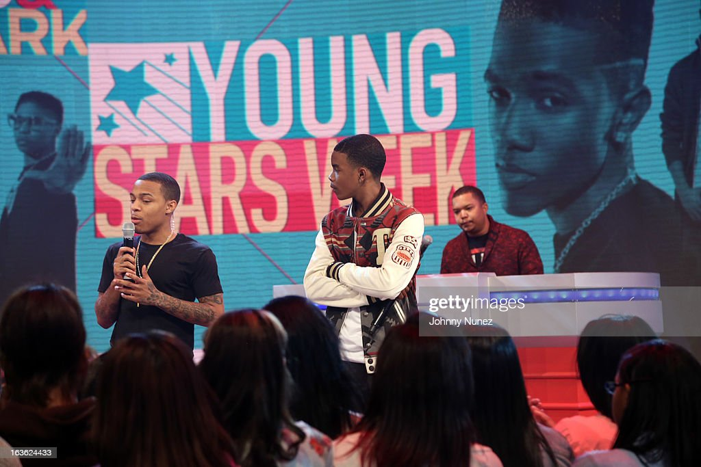 Young Marqus (c) visits BET's '106 & Park' with host <a gi-track='captionPersonalityLinkClicked' href=/galleries/search?phrase=Bow+Wow+-+Rapper&family=editorial&specificpeople=211211 ng-click='$event.stopPropagation()'>Bow Wow</a> (L) at BET Studios on March 11, 2013 in New York City.