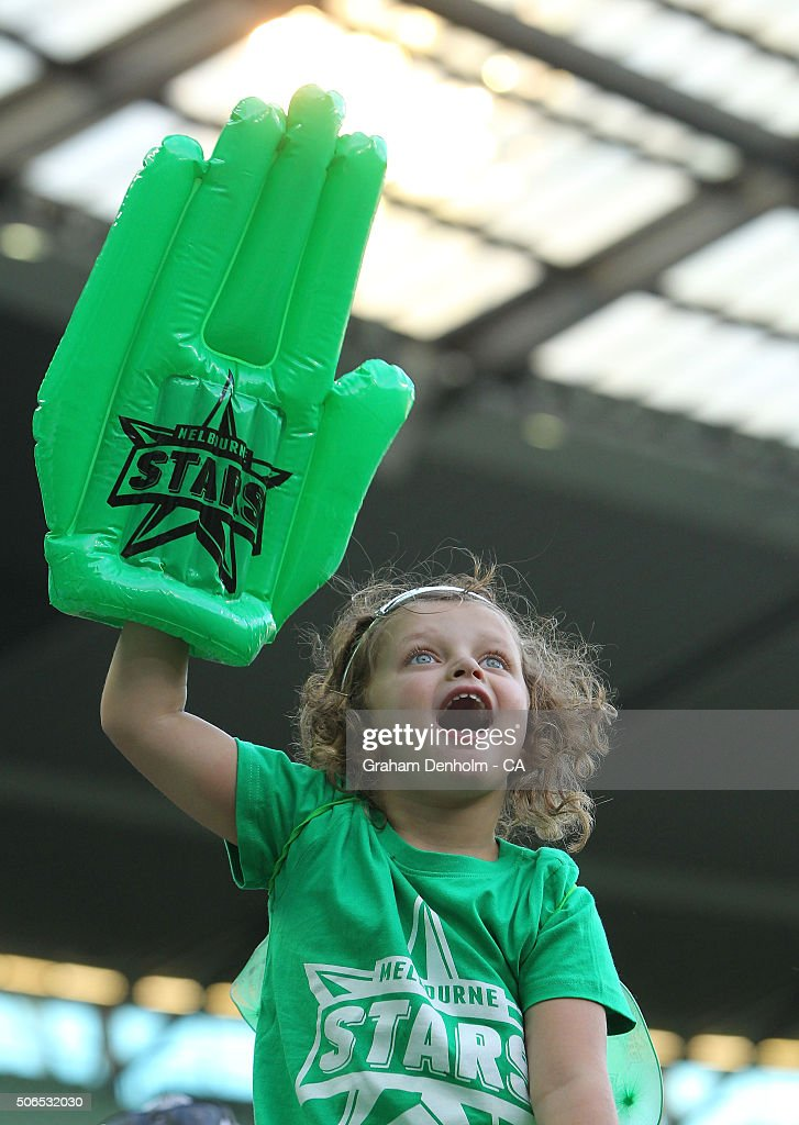 A young Melbourne Stars fan shows her support during the Big Bash League final match between Melbourne Stars and the Sydney Thunder at Melbourne Cricket Ground on January 24, 2016 in Melbourne, Australia.
